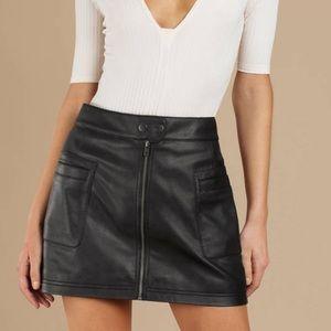 Free People High A Line Vegan Leather Mini Skirt